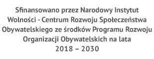 Sfinansowano przez Narodowy Instytut Wolności - Centrum Rozwoju Społeczeństwa Obywatelskiego ze środków Programu Rozwoju Organizacji Obywatelskich na lata 2018-2030